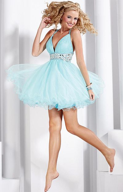 Hannah S Short Halter Tulle Prom Party Dress 27690: French Novelty