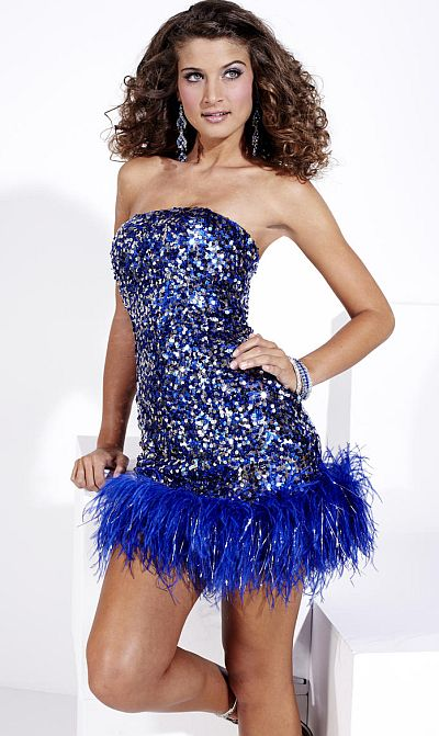Hannah S Short Sequin Prom Dress with Feather Hem 27693: French ...