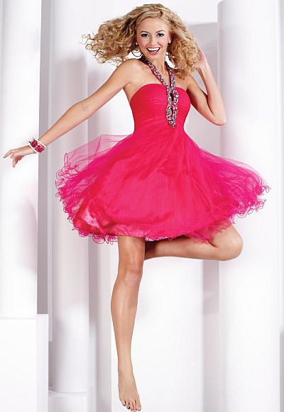 Hannah S Keyhole Short Tulle Prom Party Dress 27712: French Novelty