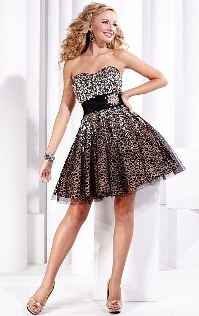 Hannah S Black Leopard Glitter Tulle Short Prom Dress 27715: French ...