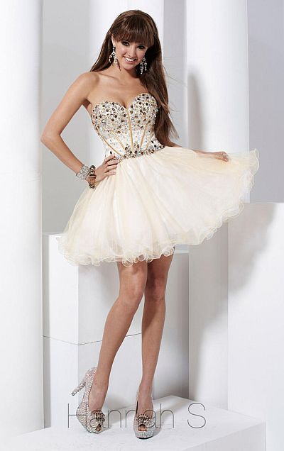 Hannah S White Gold Short Tulle Party Dress 27723 - French Novelty