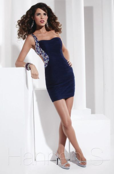 Hannah S 27764 One Shoulder Short Party Dress With Cutout Side