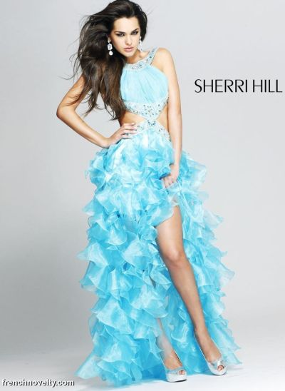 Sherri Hill Long Prom Dress with Cut-Out Sides and Ruffles 2780 ...