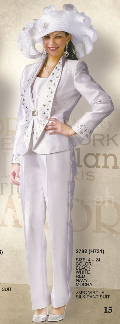Lily And Taylor 2782 Womens Virtual Silk Pant Suit French