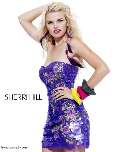 Sherri Hill Sequin Floral Design Short Prom Dress 2783: French Novelty