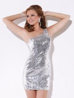 Hannah S 27889 One Shoulder Sequin Cocktail Dress image