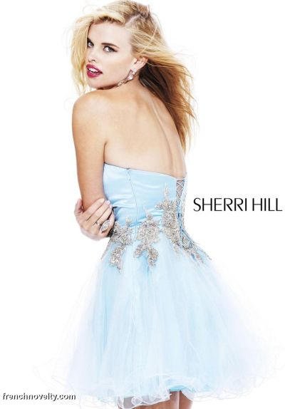 Sherri Hill Short Prom Party Dress with Lace-Up Back 2795: French ...