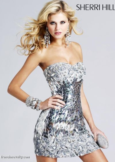 sherri hill silver beaded cocktail prom dress 2796 french