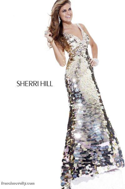 Sherri Hill Long Allover Large Sequin Prom Dress 2821: French Novelty
