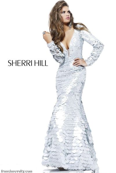 Sherri Hill Silver Long Sleeve Evening Dress With Plunging V Neck