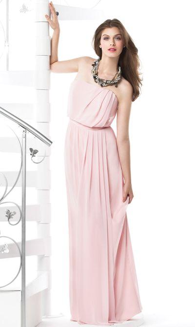 Dessy Long Chiffon Bridesmaid Dress With Blouson Bodice