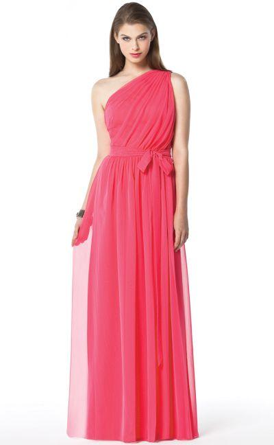 One Shoulder Lux Chiffon Long Dessy Bridesmaid Dress 2831
