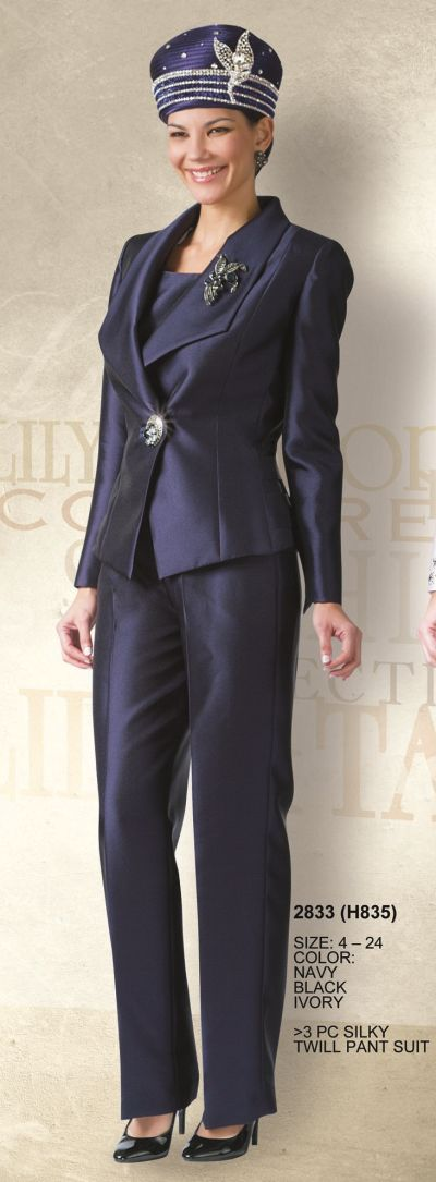 Lily And Taylor 2833 Womens 3pc Pant Suit French Novelty