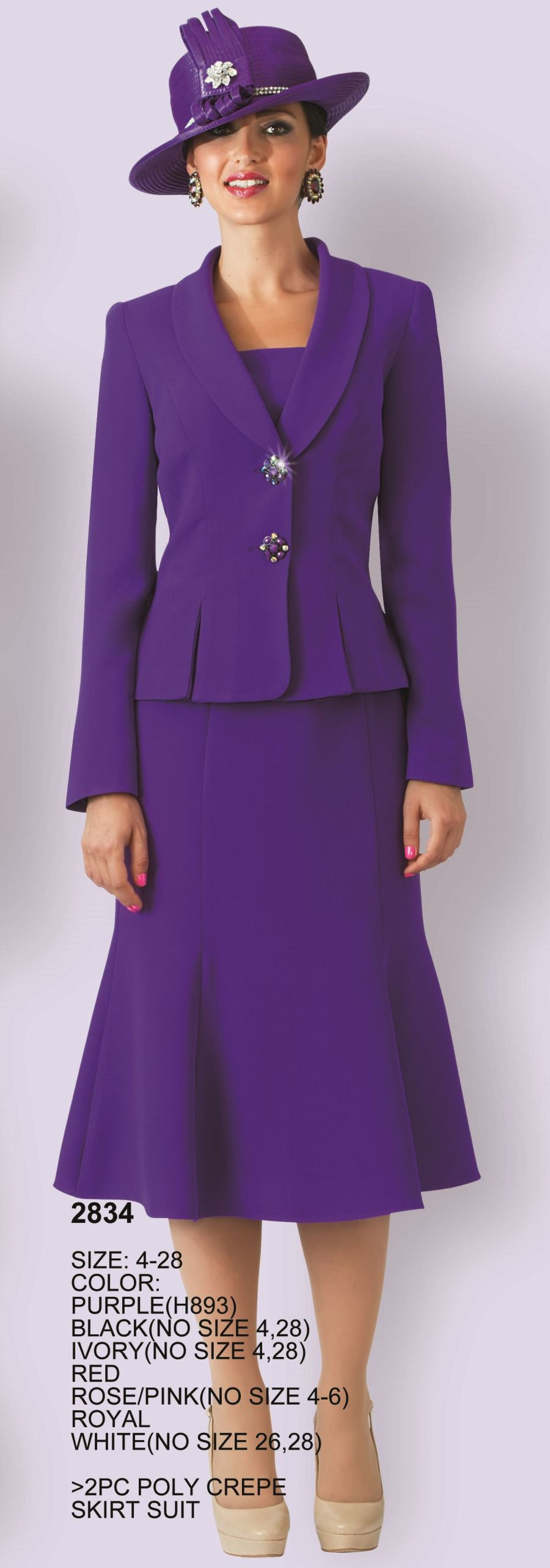 Lily And Taylor 2834 Womens Crepe Church Suit French Novelty