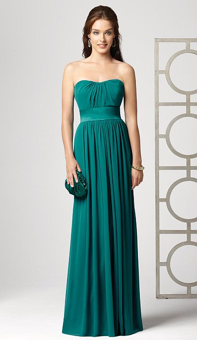 Dessy Collection Strapless Long Lux Chiffon Bridesmaid Dress 2860 ...