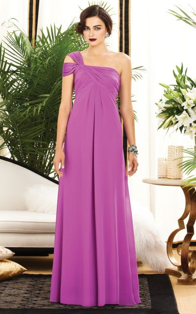 bfceeab6e457 Dessy Collection 2881 One Shoulder Chiffon Bridesmaid Dress  French Novelty