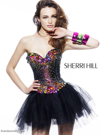 Sherri Hill Colorful Stone Bodice Short Prom Party Dress 2885 ...