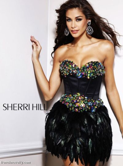 Sherri Hill Multi Color Stone and Feather Short Prom Dress 2886 ...