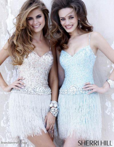 f5cb3bc39ab Sherri Hill Short Beaded Fringe Prom Party Dress 2901  French Novelty