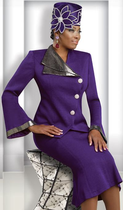 Donna Vinci Knits 2911 Womens Purple Church Suit: French Novelty