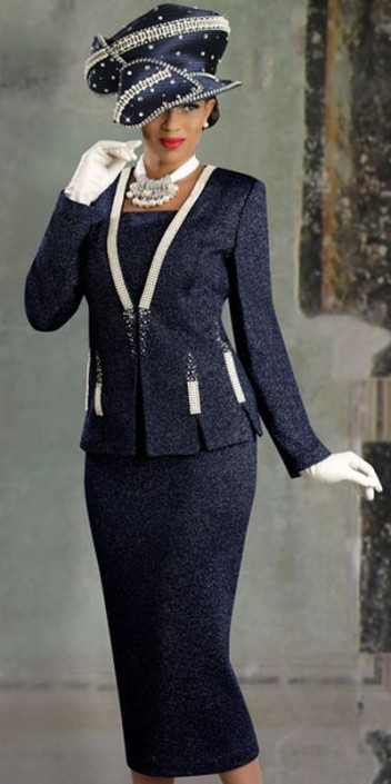 Donna Vinci Knits 2916 Womens Navy Blue Church Suit French Novelty