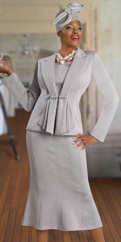 Donna Vinci Knits 2917 Womens Silver Church Suit: French Novelty