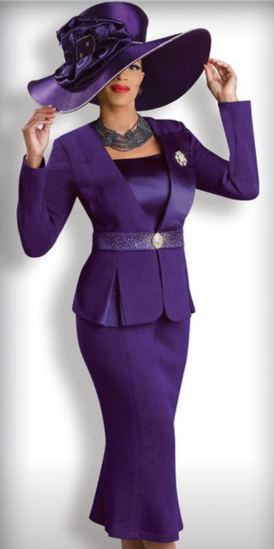 Donna Vinci Knits 2918 Womens Purple Church Suit: French Novelty