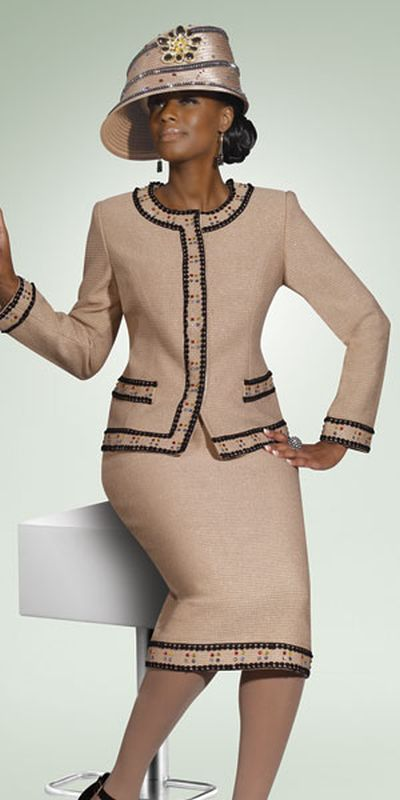 Donna Vinci Knits 2924 Womens Church Suit With Lace Trim French Novelty