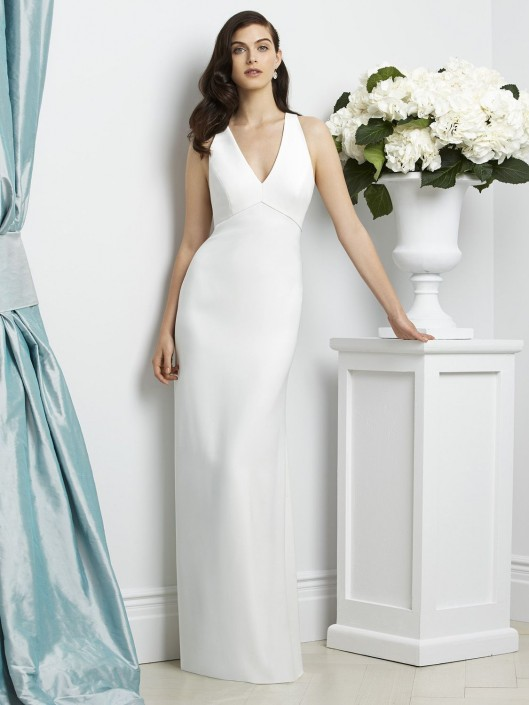 Dessy Collection 2938 Halter Crepe Bridesmaid Gown: French Novelty