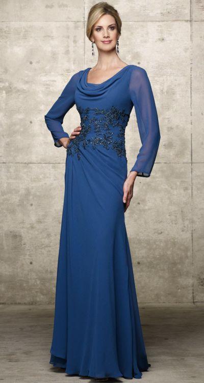 Alyce Jdl Long Sleeve Cowl Neck Chiffon Evening Dress