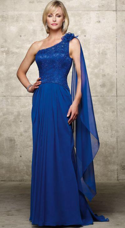 JDL by Alyce One Shoulder Mothers Wedding Dress 29429: French Novelty