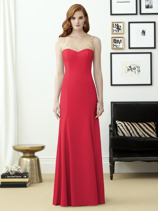 0adfa366e4 Dessy Collection 2964 Illusion Crepe Bridesmaid Gown  French Novelty