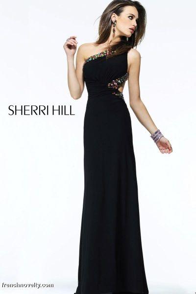 Sherri Hill 2970 One Shoulder Side Cutout Long Dress: French Novelty