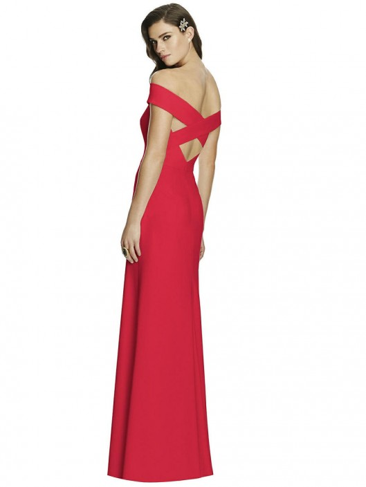 Dessy Collection 2987 Off Shoulder Crepe Bridesmaid Gown: French Novelty