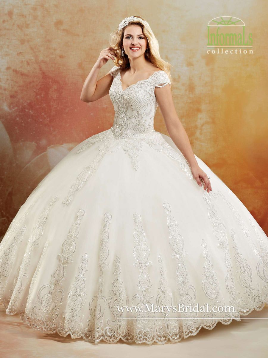 Marys Bridal Informals 2b789 Sequin Lace Ball Gown French