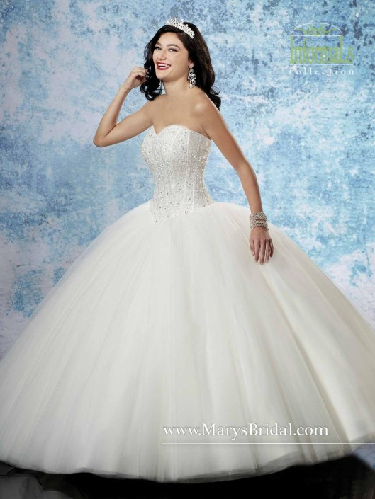 Marys Bridal Informals 2B793 Tulle Ball Gown with Bolero: French Novelty