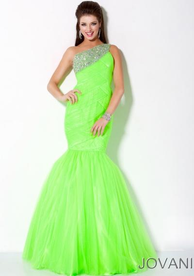Jovani Neon One Shoulder Mermaid Prom Dress 30002: French Novelty