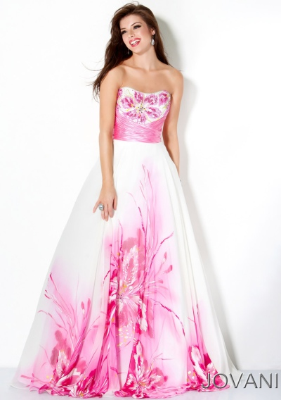 Jovani White and Pink Floral Empire Prom Dress 30015: French Novelty