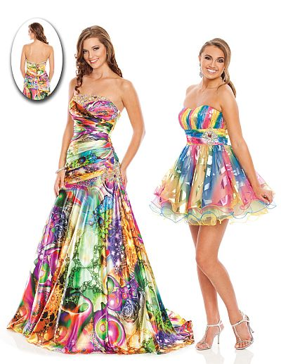 Wow Prom Colorful Print Short Party Dress 3002S: French Novelty