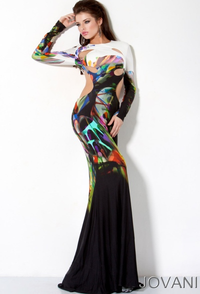 Jovani Long Sleeve Print Evening Dress with Cut-Outs 30033: French ...