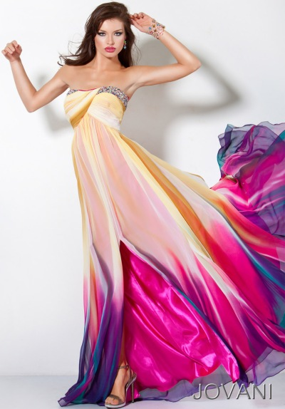 Jovani Fuchsia and Purple Long Chiffon Prom Dress 3006 ...