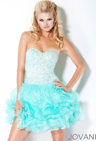 Jovani Short Sequin Ball Gown Prom Dress 30075: French Novelty