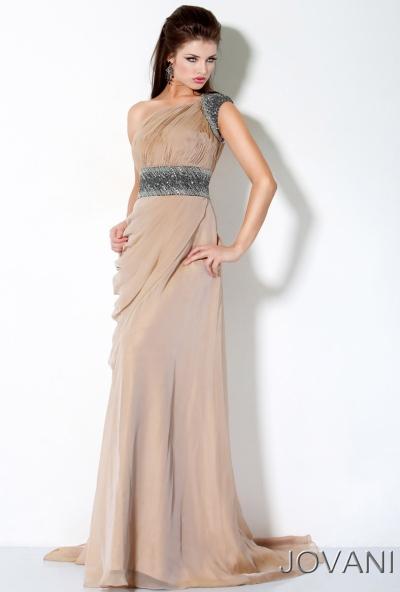Jovani Long One Shoulder Draped Prom Dress 3012: French Novelty