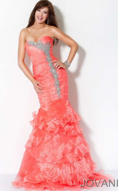 Ruffle Mermaid Prom Dress Jovani Long Mermaid Prom Dress