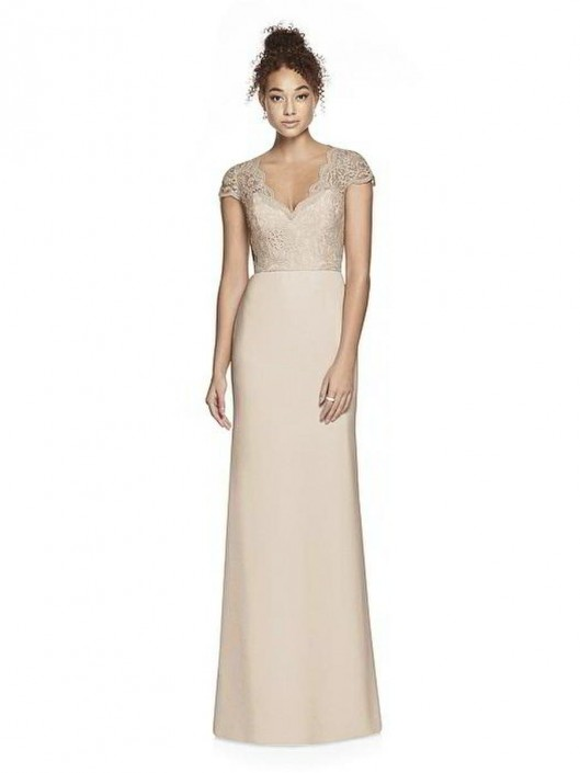 Dessy Collection 3023 Short Sleeve Lace Bridesmaid Dress