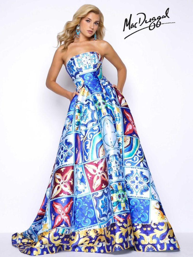 Mac Duggal 30378M Bold Italian Print Prom Dress: French Novelty