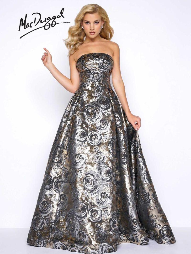 Mac Duggal Prom 30451m Metallic Rose Print Gown French