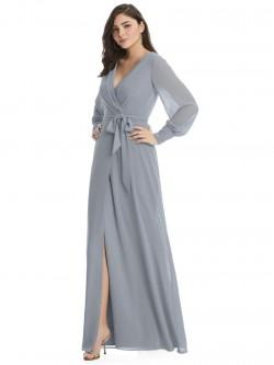 b20e0491f9 Dessy 3049 Long Sleeve Wrap Bridesmaid Dress