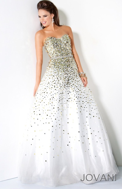 Jovani White Gold Sparkling Ball Gown 3068