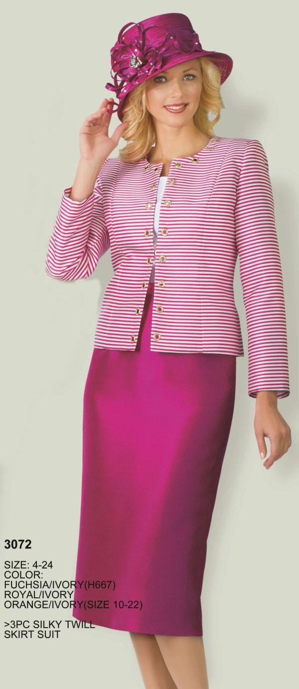 Lily And Taylor 3072 Womens Striped Church Suit French